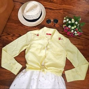 3 for $30 Yellow embroidered button down shirt
